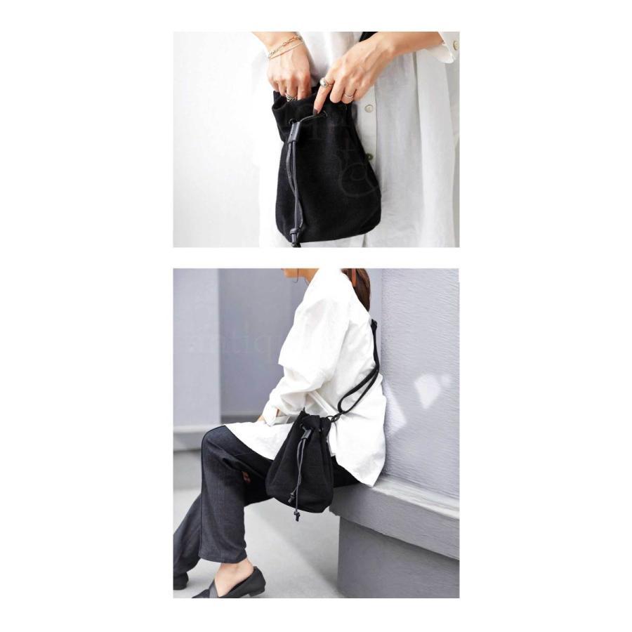 バッグ レディース 巾着 ショルダーバッグ ドロストバッグ リネン巾着バッグ・4月15日0時〜再販。メール便不可 母の日|antiqua|09