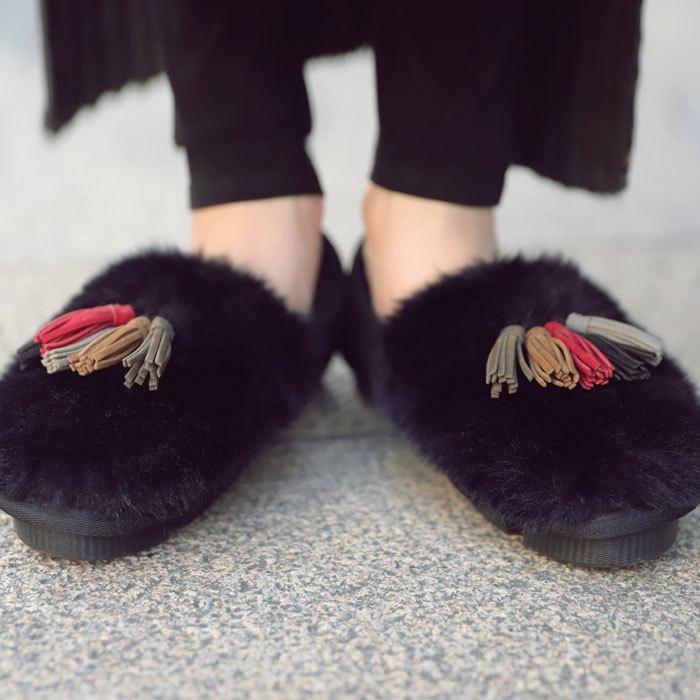 靴 モカシン ファー オリジナル タッセル付き極ふわファーシューズ 送料無料・再販。メール便不可|antiqua