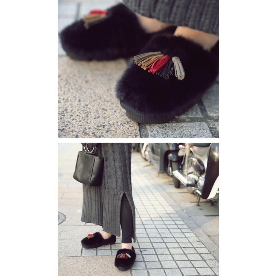 靴 モカシン ファー オリジナル タッセル付き極ふわファーシューズ 送料無料・再販。メール便不可|antiqua|15