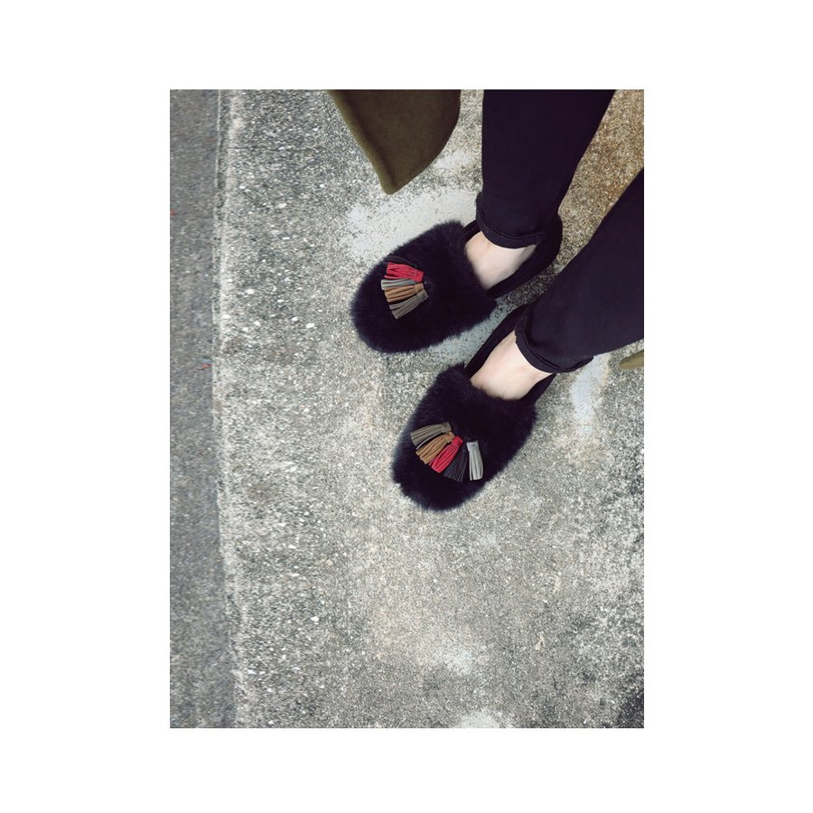 靴 モカシン ファー オリジナル タッセル付き極ふわファーシューズ 送料無料・再販。メール便不可|antiqua|16