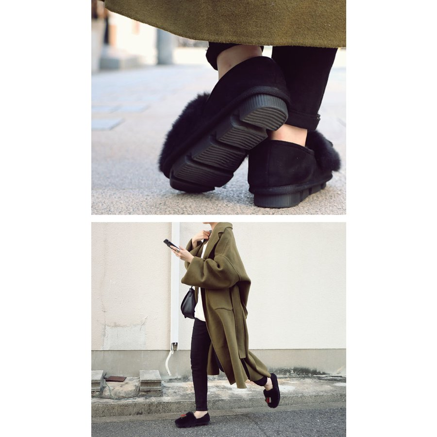 靴 モカシン ファー オリジナル タッセル付き極ふわファーシューズ 送料無料・再販。メール便不可|antiqua|17
