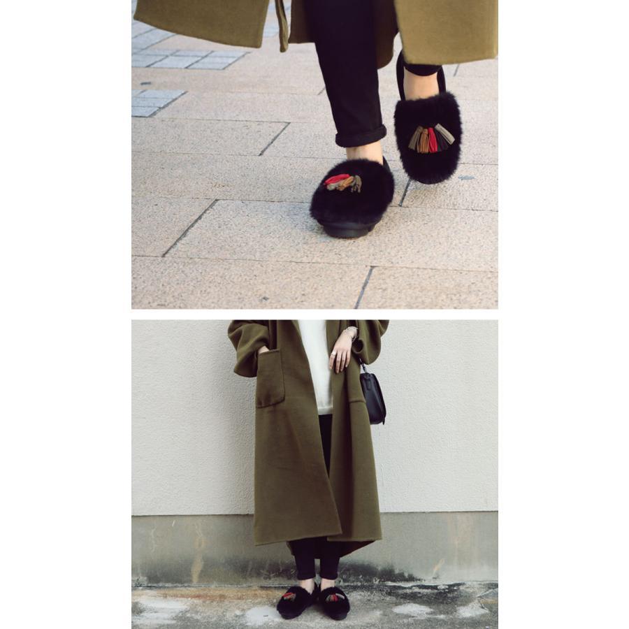 靴 モカシン ファー オリジナル タッセル付き極ふわファーシューズ 送料無料・再販。メール便不可|antiqua|18