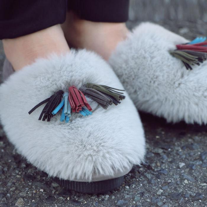 靴 モカシン ファー オリジナル タッセル付き極ふわファーシューズ 送料無料・再販。メール便不可|antiqua|20