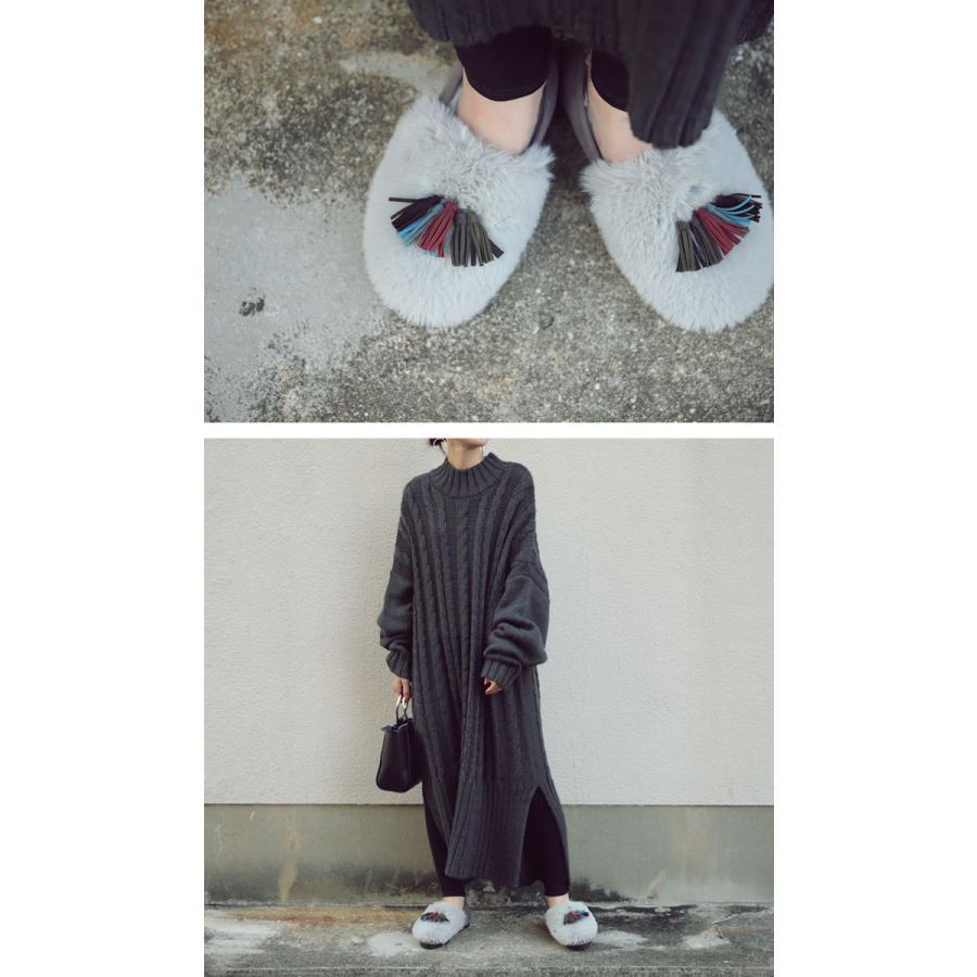靴 モカシン ファー オリジナル タッセル付き極ふわファーシューズ 送料無料・再販。メール便不可|antiqua|03