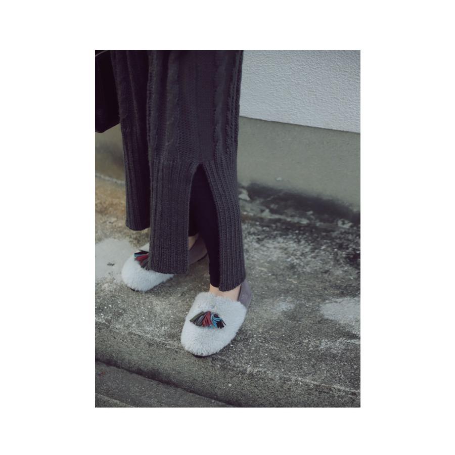 靴 モカシン ファー オリジナル タッセル付き極ふわファーシューズ 送料無料・再販。メール便不可|antiqua|04