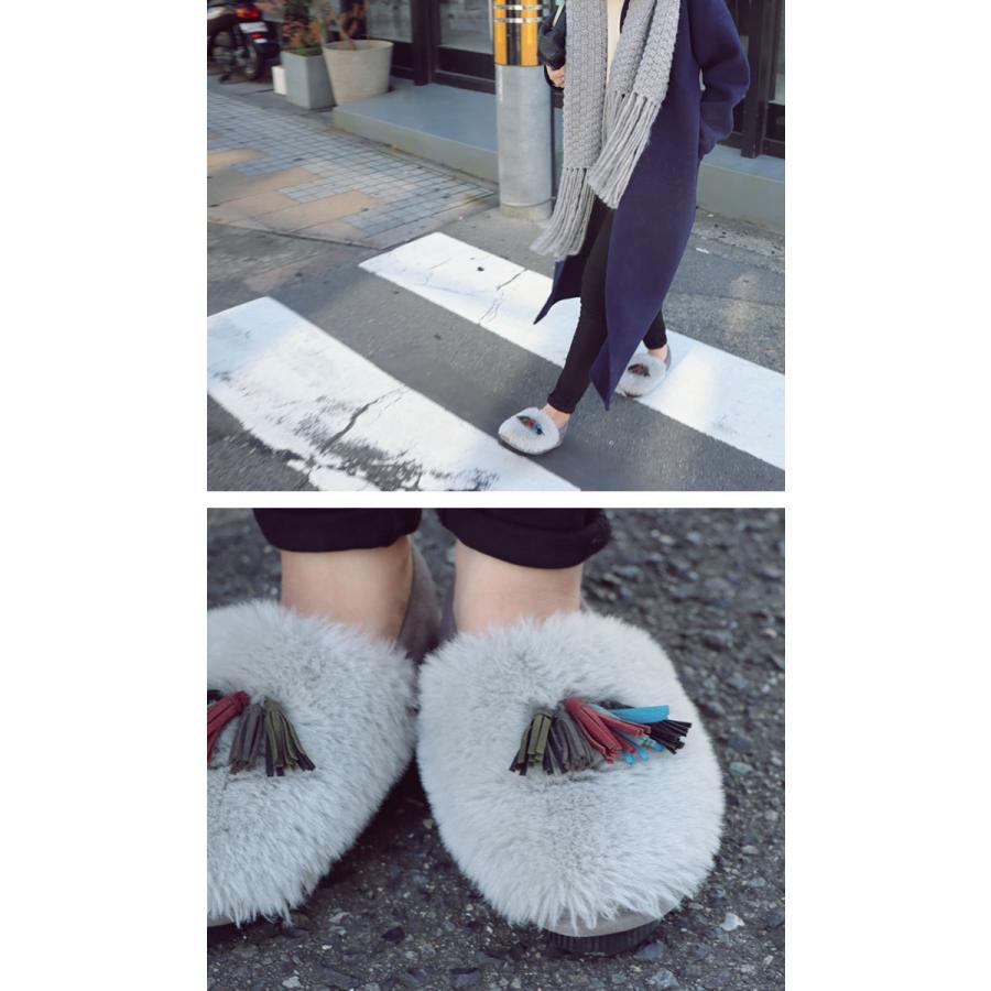 靴 モカシン ファー オリジナル タッセル付き極ふわファーシューズ 送料無料・再販。メール便不可|antiqua|05