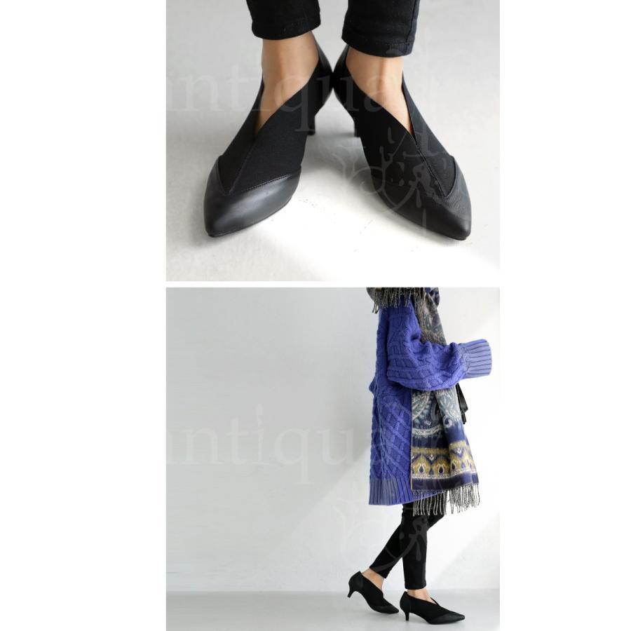 靴 シューズ パンプス レディース S M L LL ローヒール ゴアパンプス 送料無料・再販。メール便不可|antiqua|03