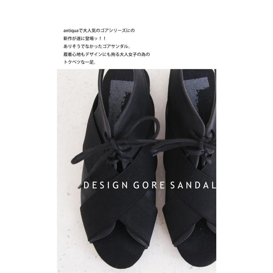 靴 サンダル レディース ゴアサンダル レースアップ レザーゴアサンダル・再販。メール便不可 母の日|antiqua|09