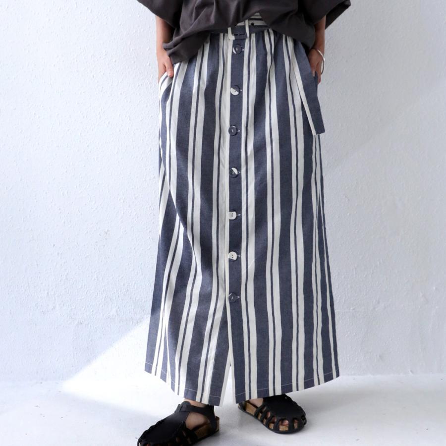 ボトムス スカート ロング レディース 綿 綿100% ストライプスカート・再再販。メール便不可 母の日 antiqua 12