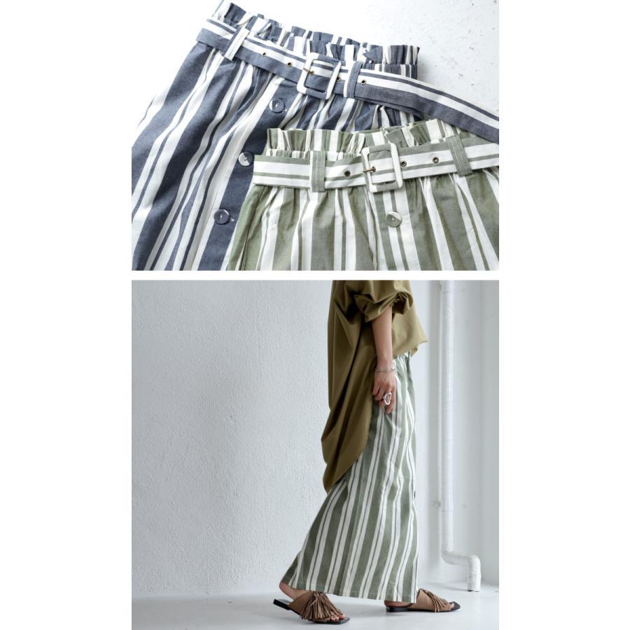 ボトムス スカート ロング レディース 綿 綿100% ストライプスカート・再再販。メール便不可 母の日 antiqua 03
