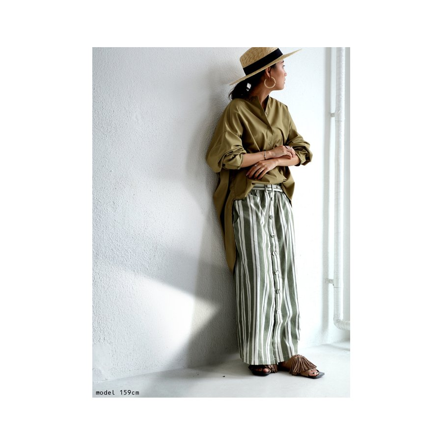 ボトムス スカート ロング レディース 綿 綿100% ストライプスカート・再再販。メール便不可 母の日 antiqua 04