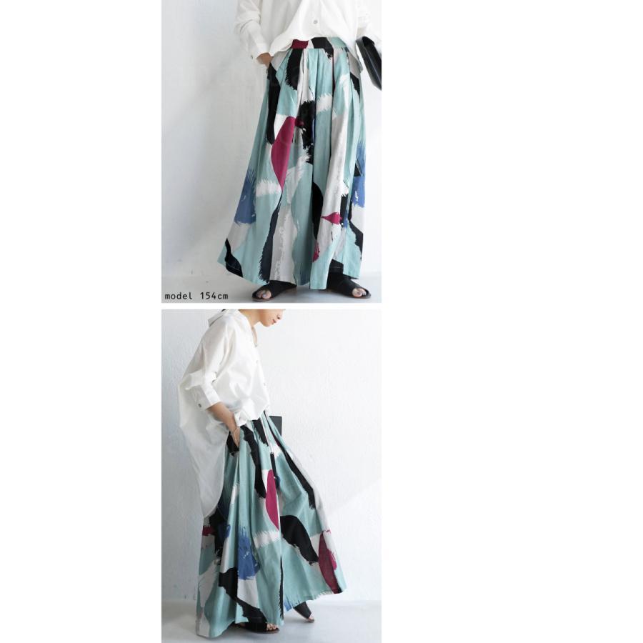 ボトムス スカート レディース 綿 綿100 マキシ丈 アート柄ロングスカート・4月20日0時〜再販。メール便不可 母の日 antiqua 08