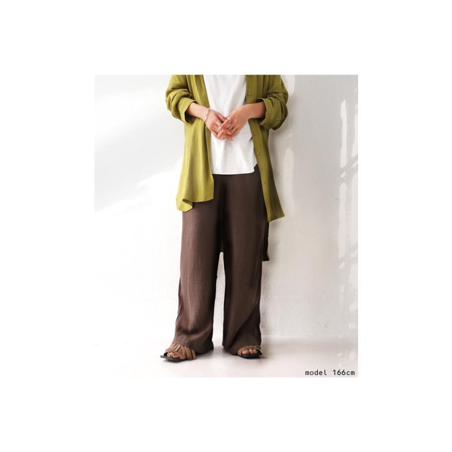 パンツ レディース ワイド ワイドパンツ 長ズボン 麻 リネン 送料無料・再再販。メール便不可|antiqua|15