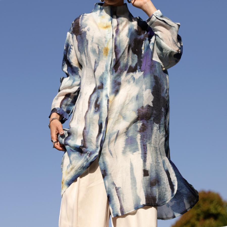 アート柄シャツ シャツ レディース トップス 長袖 送料無料・再再販。80ptメール便可|antiqua|12