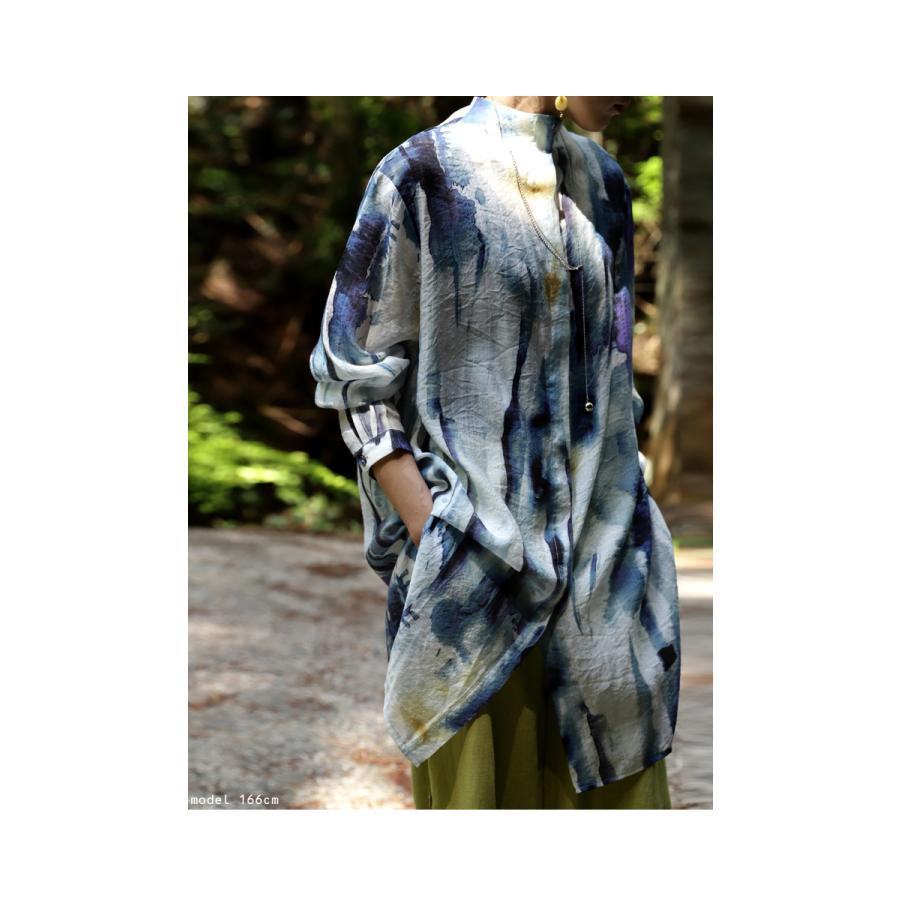 アート柄シャツ シャツ レディース トップス 長袖 送料無料・再再販。80ptメール便可|antiqua|04