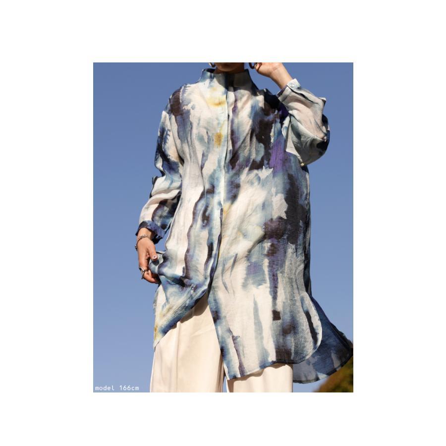 アート柄シャツ シャツ レディース トップス 長袖 送料無料・再再販。80ptメール便可|antiqua|09