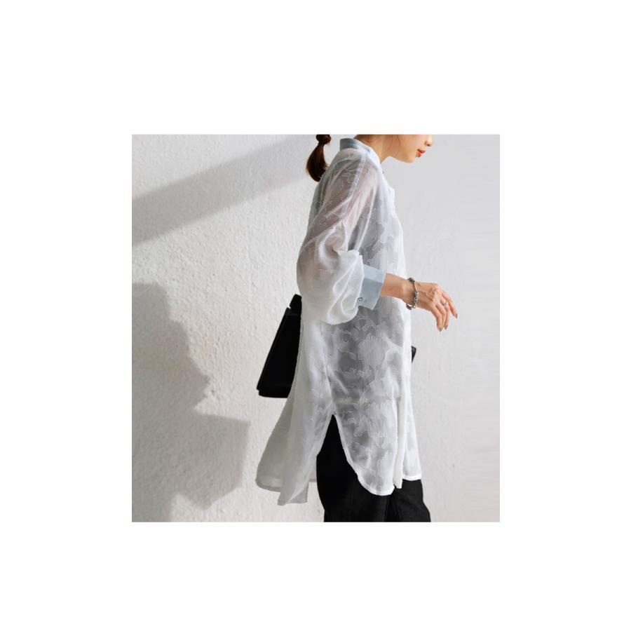 花柄シアーシャツ シャツ レディース トップス 柄 送料無料・再再販。メール便不可 antiqua 11