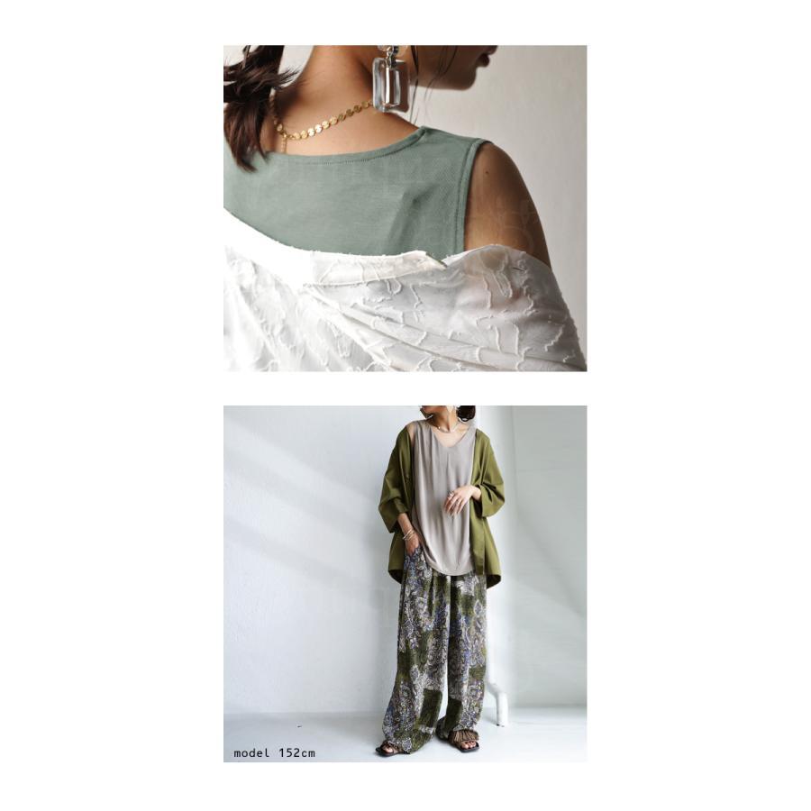 タンクトップ レディース おしゃれ 夏 ノースリーブ カットソー Vネック・4月30日0時〜再再販。02,03,32番色のみ発送は5/20〜順次。100ptメール便可 母の日 antiqua 07