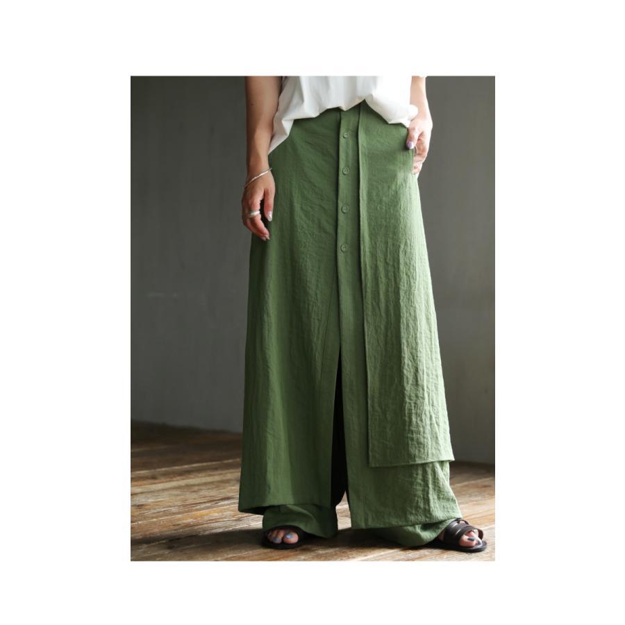 まるでスカートのような上品な佇まい。デザインワイドパンツ 送料無料・再再販。メール便不可 母の日|antiqua|04