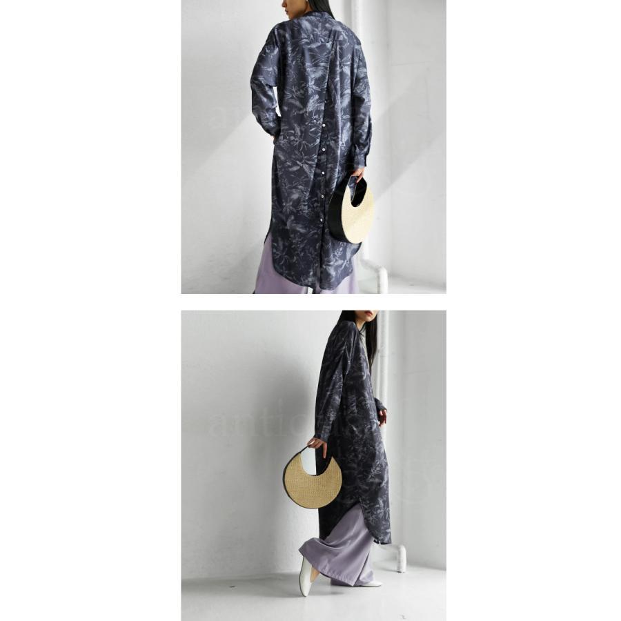 ボタニカル柄バックボタンワンピ ワンピース ロング 送料無料・4月20日0時〜発売。メール便不可 母の日 antiqua 08