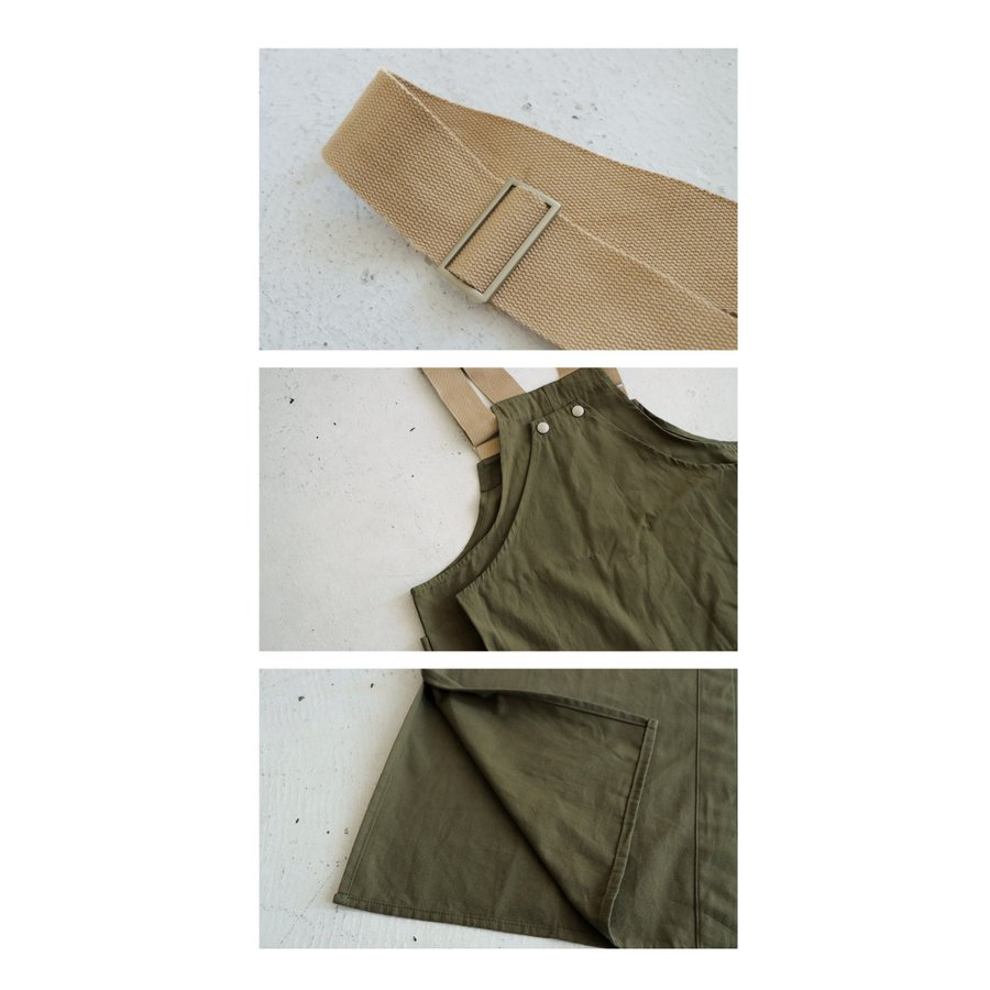 サロペットスカート ワンピース ハントベスト 綿 送料無料・10月9日10時〜再再販。メール便不可|antiqua|07