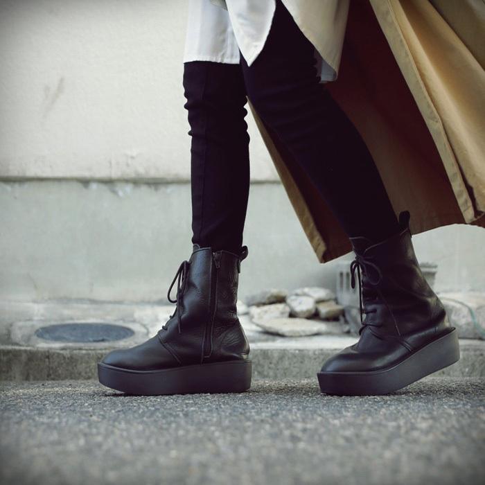 靴 ブーツ 厚底ブーツ レディース プラットフォーム 本革厚底ブーツ 送料無料・再再販。メール便不可|antiqua