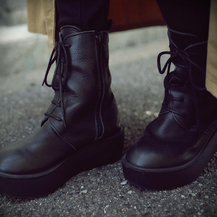 靴 ブーツ 厚底ブーツ レディース プラットフォーム 本革厚底ブーツ 送料無料・再再販。メール便不可|antiqua|12