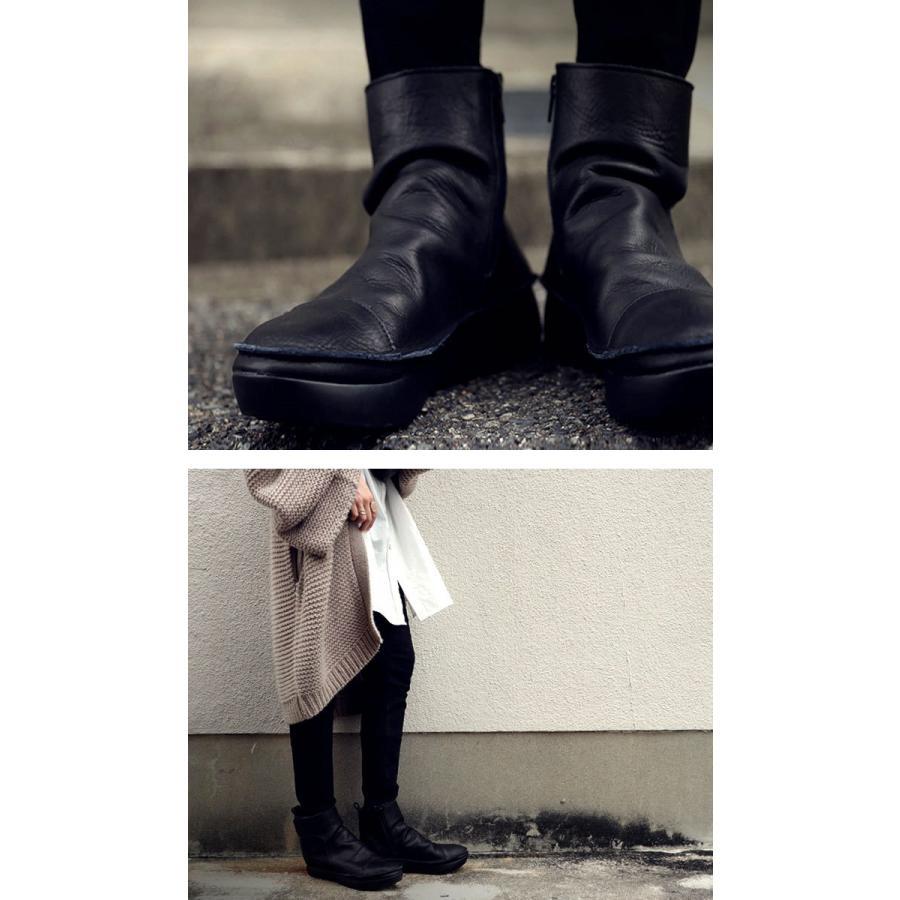 ブーツ レディース 本革 ショートブーツ 日本製 ジップアップ 厚底 送料無料・再販。メール便不可|antiqua|12