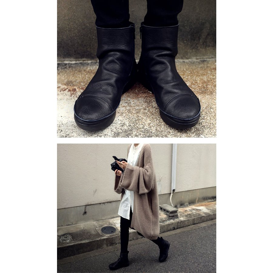 ブーツ レディース 本革 ショートブーツ 日本製 ジップアップ 厚底 送料無料・再販。メール便不可|antiqua|03