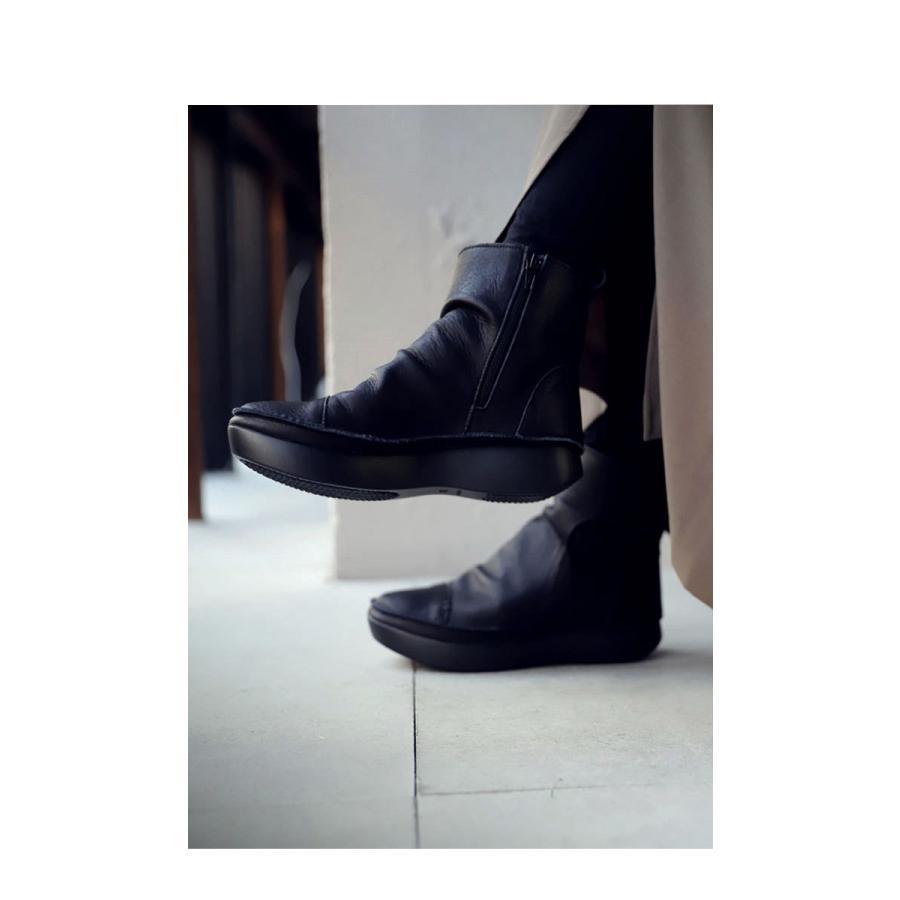 ブーツ レディース 本革 ショートブーツ 日本製 ジップアップ 厚底 送料無料・再販。メール便不可|antiqua|04