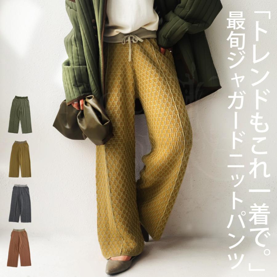 大人気商品!再入荷予定あり(再入荷ボタン登録でメールでお知らせ)ジャガード織ニットパンツ ジャガード織 パンツ 柄 送料無料・再販。メール便不可|antiqua