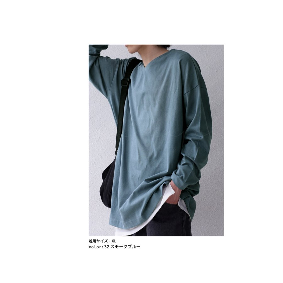 VネックバスクロンT ロンT メンズ トップス 長袖 綿・5月15日0時〜再再販。メール便不可|antiqua|07