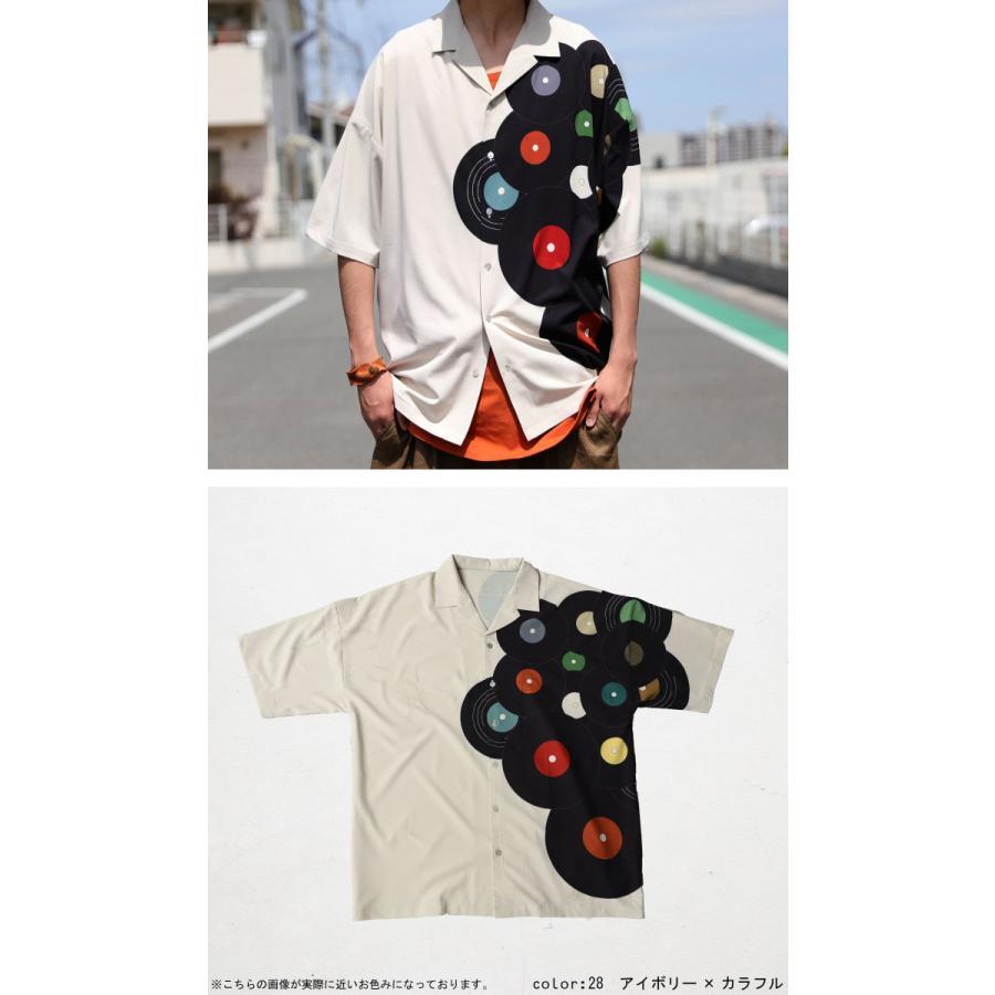 レコード柄開襟シャツ シャツ メンズ トップス 柄 送料無料・4月20日0時〜発売。メール便不可【MENS】|antiqua|21