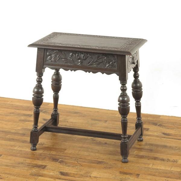 引出し付きサイドテーブル 44284 ダークカラー・美しい彫刻・重厚な雰囲気 ティーテーブル、ディスプレイ台などに 1910年頃イギリスアンティーク家具