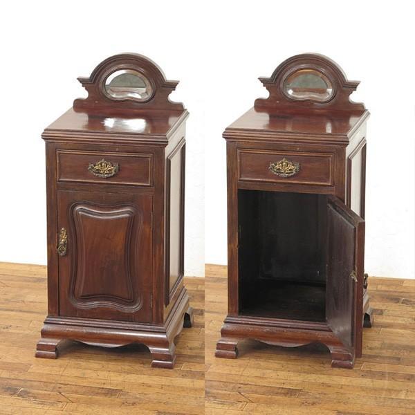ナイトテーブル ミラー付の珍しいデザイン サイドキャビネット リビング 1920年頃 イギリスアンティーク家具 アンティークフレックス 54284