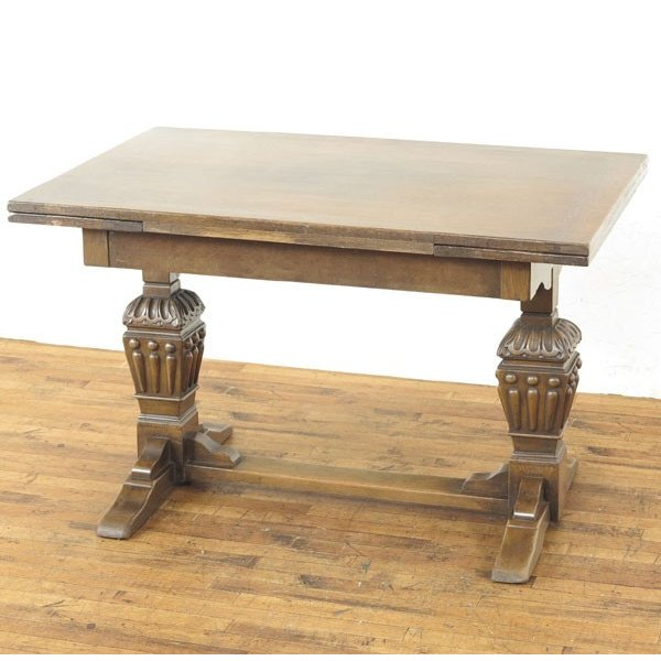 ドローリーフテーブル 重厚な雰囲気 どっしりとした足のデザイン 伸長式ダイニングテーブル ディスプレイ台 2本脚 イギリス 55215