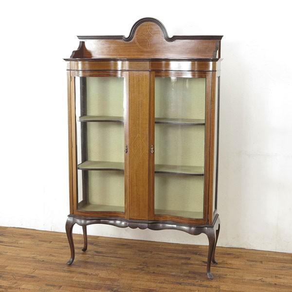 アンティーク家具 イギリス 1920年頃 ショーケース 美しい曲面ガラス マホガニー材 飾り棚 ディスプレイキャビネット  55242|antiquesflex|01
