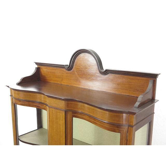 アンティーク家具 イギリス 1920年頃 ショーケース 美しい曲面ガラス マホガニー材 飾り棚 ディスプレイキャビネット  55242|antiquesflex|02
