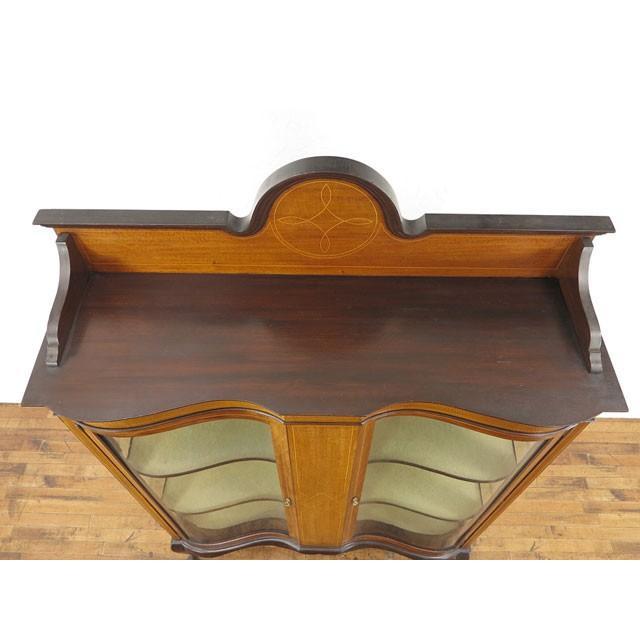 アンティーク家具 イギリス 1920年頃 ショーケース 美しい曲面ガラス マホガニー材 飾り棚 ディスプレイキャビネット  55242|antiquesflex|04