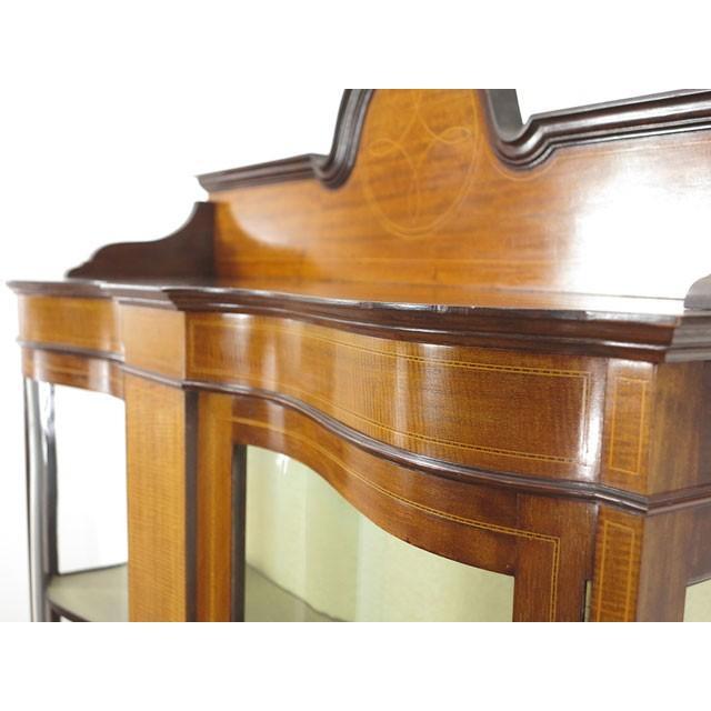 アンティーク家具 イギリス 1920年頃 ショーケース 美しい曲面ガラス マホガニー材 飾り棚 ディスプレイキャビネット  55242|antiquesflex|05