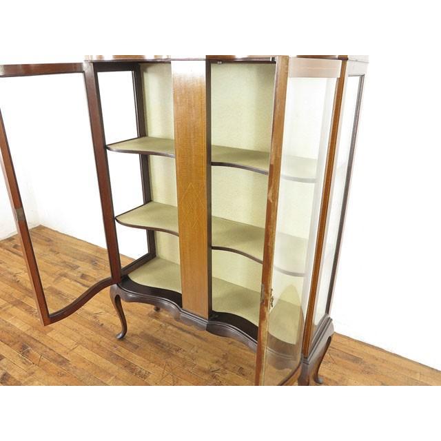 アンティーク家具 イギリス 1920年頃 ショーケース 美しい曲面ガラス マホガニー材 飾り棚 ディスプレイキャビネット  55242|antiquesflex|06