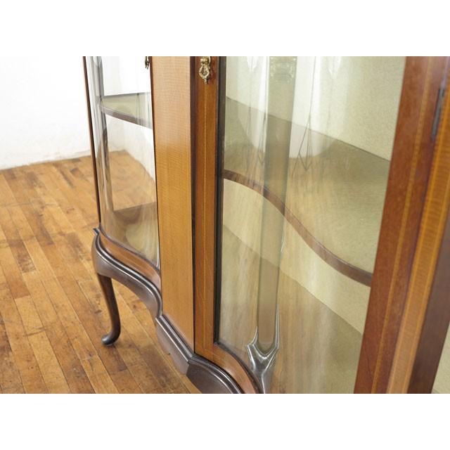 アンティーク家具 イギリス 1920年頃 ショーケース 美しい曲面ガラス マホガニー材 飾り棚 ディスプレイキャビネット  55242|antiquesflex|07