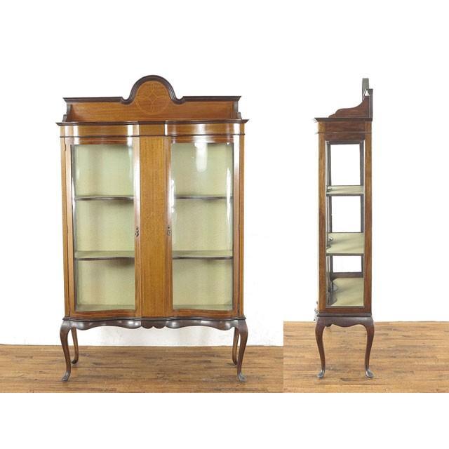 アンティーク家具 イギリス 1920年頃 ショーケース 美しい曲面ガラス マホガニー材 飾り棚 ディスプレイキャビネット  55242|antiquesflex|10