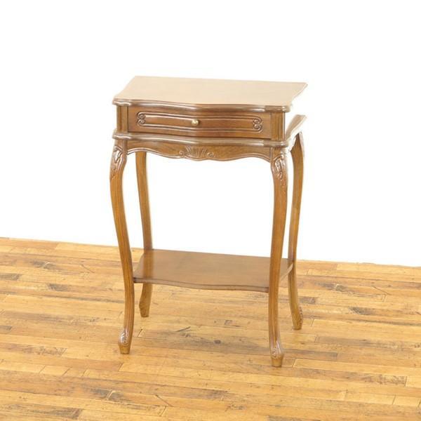 引き出し付サイドテーブル アンティークフレックス 脚長スタイル 1960年頃 フランス 猫脚 ディスプレイ台 エレガント 61818