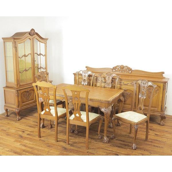 ダイニングルーム9点セット 美しい彫刻とデザイン チェアは座面張り替え済み フランス 1930年頃 アンティークフレックス 62846 ダイニングルーム9点セット 美しい彫刻とデザイン チェアは座面張り替え済み フランス 1930年頃 アンティークフレックス 62846