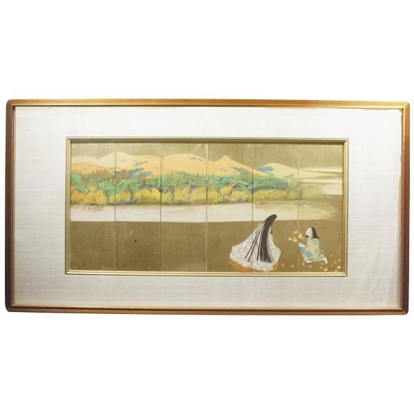 森田沙伊 日本画 横額 タトウ付 絵画 額装|antiquesjikoh