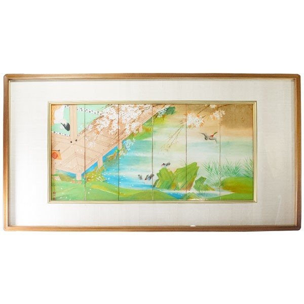 森田沙伊 日本画 横額 タトウ付 antiquesjikoh