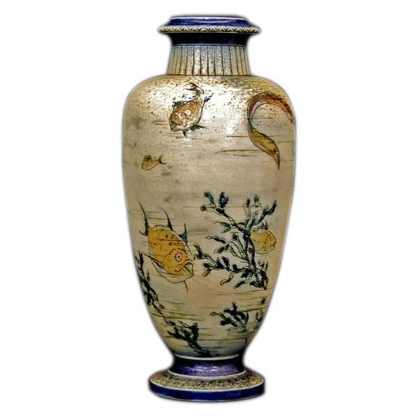 R.W.Martin Brothers 花瓶 「魚、水草模様」 1889年|antiquesjikoh