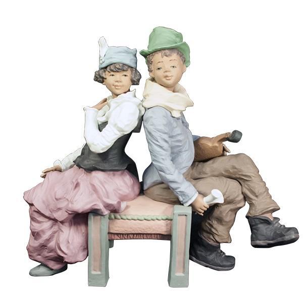 LLADRO リヤドロ 椅子に座る男と女像  SAN ISIDRO |antiquesjikoh