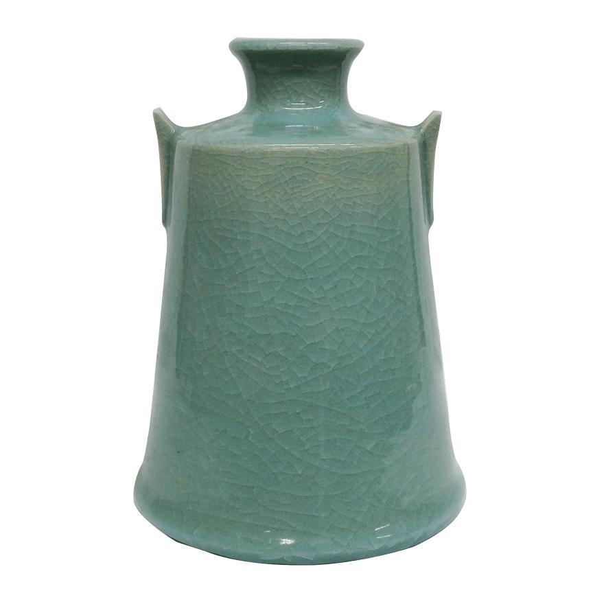 堂前忠正 青磁壺 花器 花瓶 花入 共箱 y-258 antiquesjikoh 03